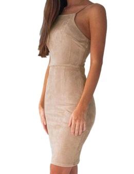 Cyber Women Strap Back Cross Lace-up Package Hip Pencil Dress Mini Club Party ( Khaki ) - intl