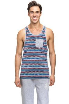 Bellfield Men's Racerback Printed Vest Blue