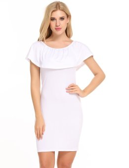 Linematr Women Casual Sleeveless Solid Off Shoulder Pullover Mini Pencil Dress ( White ) - intl