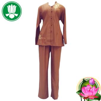 Bộ 1 áo và 1 quần pháp phục Phật tử nữ tay dài(Nâu nhạt)