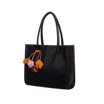 Fashion Elegant girls handbags leather shoulder bag candy color flowers Women tote - intl
