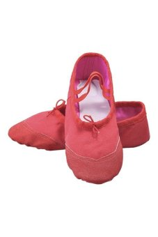 HKS Child Adult Canvas Ballet Dance Shoes Slippers Pointe Dance Gymnastics Fitness Red 40 - intl