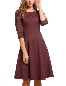 Linemart ACEVOG Women O-Neck Vintage Style Back Bandage Bow Retro Solid Swing Dress ( Dark Red ) - intl