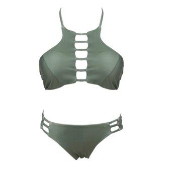 Women Bikini Push Up Padded Swimsuit Bathing Beachwear Green - intl