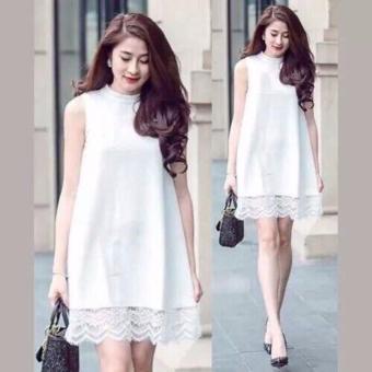 Đầm suông phối ren dịu dàng (trắng)