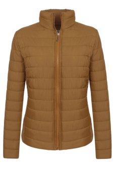 Cyber Meaneor Casual Long Sleeve Full Zip Parka Down Jacket Solid Outwear Coat (Coffee) - Intl