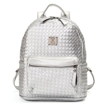 Fashion Women School Shoulder Leather Braided Backpack Girl Travel Bag Rucksack Silver - intl