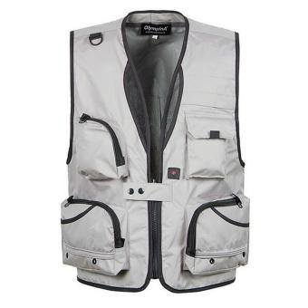 BolehDeals Multi Pocket Fishing Mesh Vest Outdoor Hunting Travel Jacket 4XL Light Grey - intl