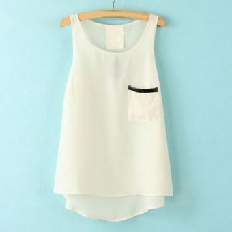 Sunweb New Fashion Women Ladies Sleeveless Asymmetric Hem Pure Color Loose Casual Leisure Tank Tops ( White ) - intl