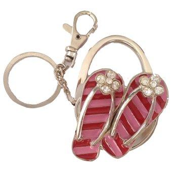 Móc treo túi xách hình dép tông có móc khóa Topway (Đỏ sọc Hồng)