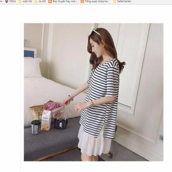 Đầm (váy) bầu thun cao cấp kẻ đen trắng MDH-VB0610