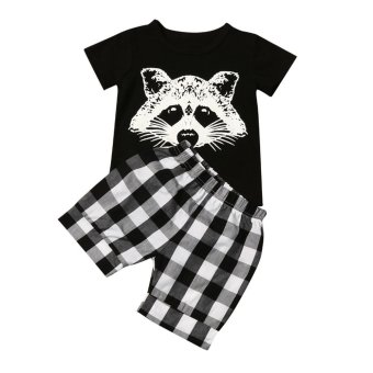 Toddler Baby Boy Fox T shirt Tops Plaid Shorts Pants Outfits Clothes Set - intl
