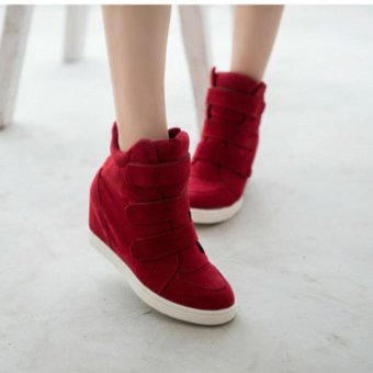 Women Shoes Autumn Winter Hidden Heel Flock Fashion Wedge Casual Shoes - intl