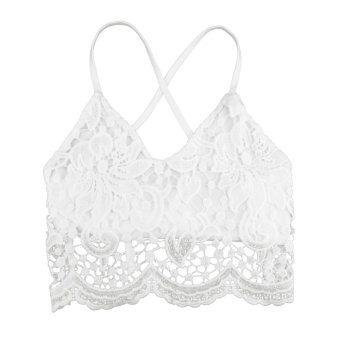 New Sexy Women Crop Top Crochet Lace Deep V Neck Spaghetti Strap Backless Tank Camisole Bralette Black and White