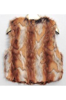 Faux Tiger Leopard Vest Jacket Faux Fur for Woman TC - Intl