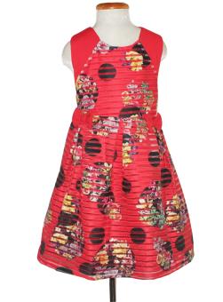 Đầm đính nơ cho bé gái 6-10 tuổi Tri Lan DBG013 (Đỏ)