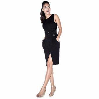Gamiss Casual Women Summer Tops Tees Sleeveless Waist Lace -Up Vest Long T-Shirt Tops(Black) - intl