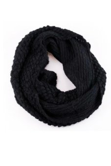 Cyber Women'S Knit Neck Cowl Wrap Scarf Corn Shawl Knitting Wool Circle Scarves (Black) - Intl