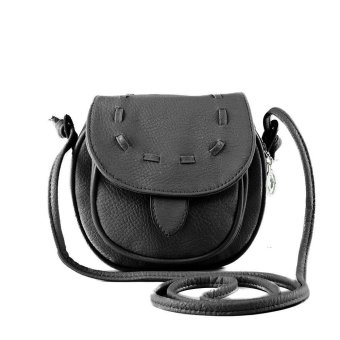New Fashion Women Mini Shoulder Bag PU Leather Messenger Crossbody Bag Drawstring Handbag Black - intl