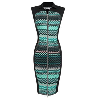 Cyber ACEVOG Lady Women's Turndown Neck Sleeveless Stitching Zipper Dot Retro Pencil Dress (Dark Green) - Intl
