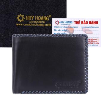 HL2135 - Bóp nam Huy Hoàng đan viền màu đen