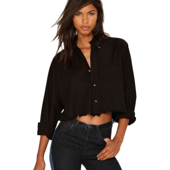 Trendy Turn-down Collar Pocket Pure Color Jacket(Black) - intl