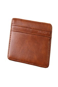 HKS Luxury Mini Neutral Magic Bifold Leather Wallet Card Holder Wallet (Light Coffee) - intl