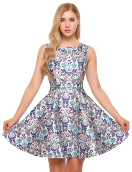 Cyber Women Vintage Style Sleeveless Floral Print Cocktail Party Swing Skater Dress ( Multicolor ) - intl