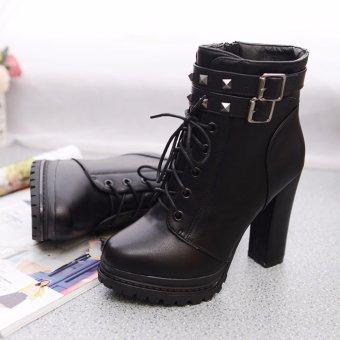 Giày boot nữ cổ ngắn màu đen cá tính GBN95