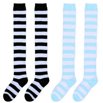 2 Pair of Girls Spring Autumn Christmas Wide Stripe Over Knee High Tube Sock Stockings Socks Color C - intl