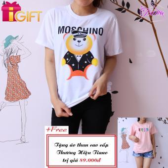 Áo Thun Nữ Tay Ngắn In Hình Gấu Moschino Cá Tính Tiano Fashion LV205 ( Màu Trắng ) + Tặng Áo Thun Nữ Tay Ngắn Thêu Hình Bốn Con Mèo Phong Cách Tiano