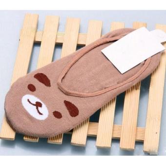 Moonar Fashion women cotton cute animal pattern boat socks (coffee bear) - intl
