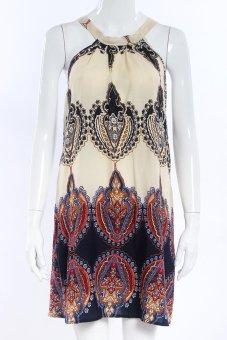 Women Sleeveless Straight Cross Strapless Sundress Striped A-Line Dress Jumper Dresses #1 - intl
