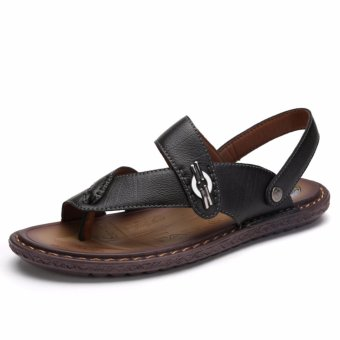 Jarma man's sandals slip-ons beach sandal Upscale leather summer shoes (Black) - intl