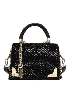 Women Sequin Leopard Messenger Cross Shoulder Bag Handbag HandBag Black