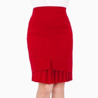 Chân váy bút chì chân dập ply - V05523065 (Đỏ Đô)