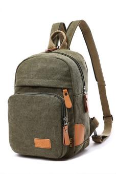 Women Girls Ladies Multi-purpose Cotton Canvas Schoolbag School Outdoor Travel Chest Bag Backpack Sling Bag Khaki