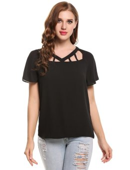 Cyber Women Casual V-Neck Short Flutter-Sleeve Solid Hollow Out Chiffon Top ( Black ) - intl
