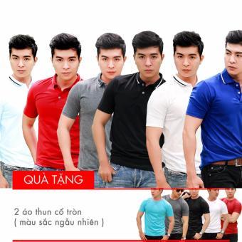 Bộ 6 áo thun nam cổ bẻ Laka + Tặng 2 áo thun trơn cổ tròn (màu sắc ngẫu nhiên)