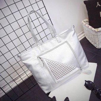 Women Simple Fashion Rivet Zipper Handbag Shoulder Bag Large Tote Ladies Purse - intl