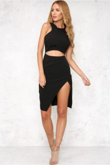 YOINS Black Sleeveless Irregular Hem Mini Dress with Cut Out Detail - intl