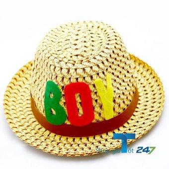Mũ cói đính logo da phong cách bé trai GT247 (Vàng)