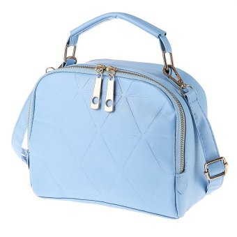Ladies Solid Color Split Zipper Design Multifunctional Handbag Single Shoulder Bag (Azure) - intl