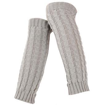 1 Pair of Women Braided Style Long Crochet Knit Leg Warmer Winter Leg Warmers Socks Boot Cuffs Socks Toppers Light Grey - intl
