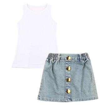 Girls Dress Suit White T-shirt + Denim Mini Skirt