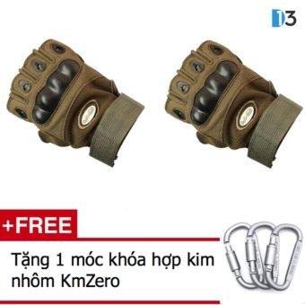 Găng tay nửa ngón QuickCell Biker - Màu xanh lính + Tặng 1 móc khóa hợp kim nhôm KmZero