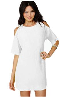 Off Shoulder SCocktail Dress (White) - Intl