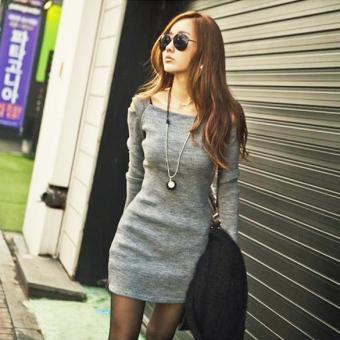 Grey Women Long Sleeve Knitwear Dress - intl