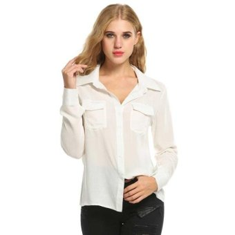 Linemart Women Casual Long Sleeve Turn-down Collar Solid Shirts with Pockets ( Dark Grey ) - intl