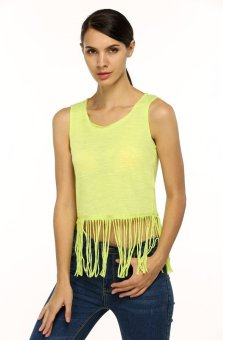 Cyber Finejo Women Casual Sleeveless Round Neck Hem Tassel Bottom Tops Blouse ( Yellow ) - Intl